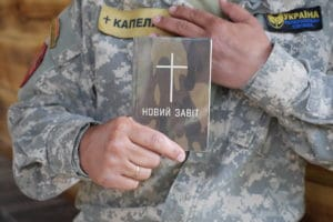 Along with local churches, the Ukrainian Bible Society is equipping Ukrainian soldiers and military chaplains with special editions of Bibles and New Testaments.