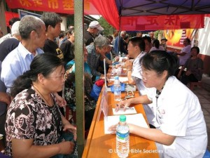 Queuing up for free health checks.